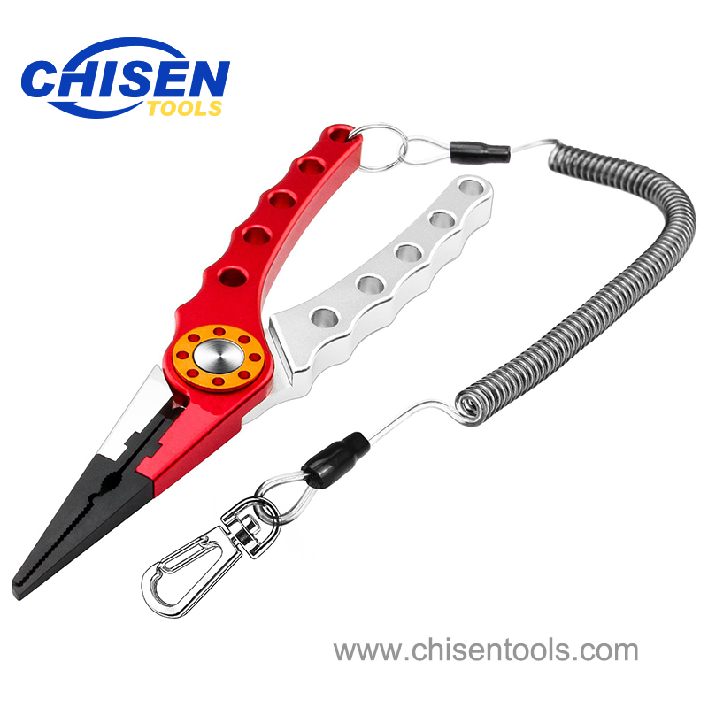Red Silver Aluminum Fishing Pliers